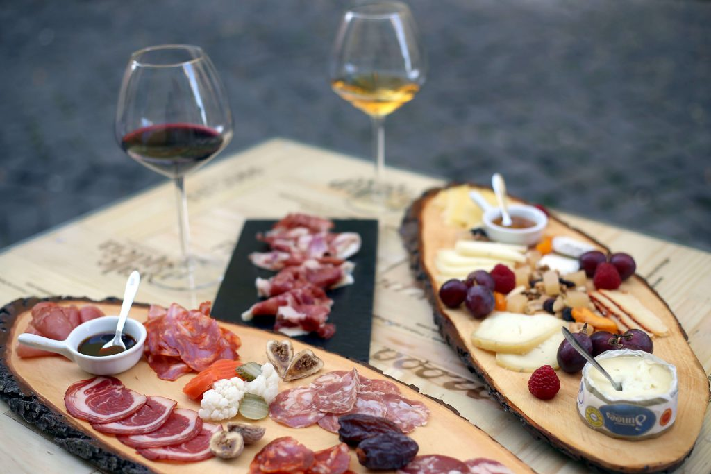 Cheese and charcuterie boards at the Lisbon Winery
